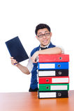 Funny man with lots of folders Royalty Free Stock Image