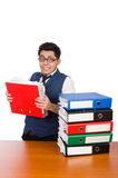 Funny man with lots of folders Royalty Free Stock Images
