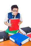 Funny man with lots of folders. On white Stock Photos