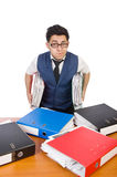 Funny man with lots of folders Royalty Free Stock Photos