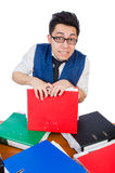 Funny man with lots of folders Stock Photo
