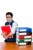 Funny man with lots of folders Stock Image
