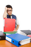 Funny man with lots of folders. On white Royalty Free Stock Images