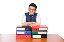 Funny man with lots of folders. On white Royalty Free Stock Photo