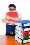 Funny man with lots of folders. On white Stock Photo