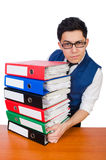 Funny man with lots of folders. On white Stock Images