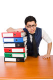 Funny man with lots of folders Stock Photography