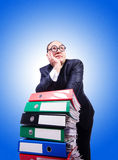 Funny man with lots of folders on white. The funny man with lots of folders on white Royalty Free Stock Photos