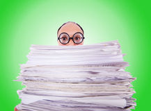 Funny man with lots of folders on white Stock Photography