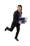 Funny man with lots of papers Stock Images