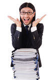 Funny man with lots of papers Stock Photos
