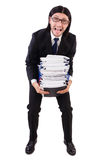 Funny man with lots of papers Stock Photo