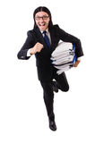 Funny man with lots of papers Stock Photography