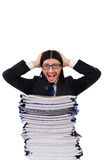 Funny man with lots of papers Stock Image