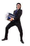 Funny man with lots of papers. On white royalty free stock image