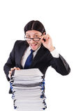 Funny man with lots of papers Royalty Free Stock Image
