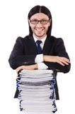 Funny man with lots of papers. On white stock image