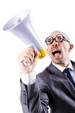 Funny man with loudspeaker Stock Images