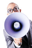 Funny man with loudspeaker. On white Stock Photography
