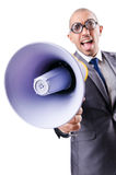 Funny man with loudspeaker. On white Royalty Free Stock Photos