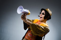 The funny man with the loudspeaker Stock Photos