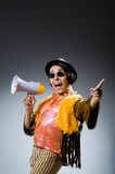 The funny man with the loudspeaker Royalty Free Stock Photography