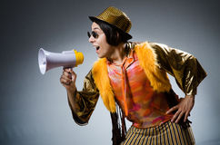 The funny man with the loudspeaker Royalty Free Stock Images