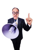 Funny man with loudspeaker. On white Stock Photo