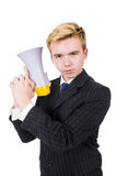 Funny man with loudspeaker. On white Stock Image