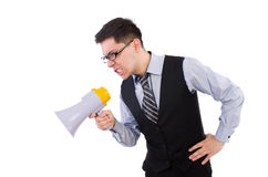 Funny man. With loudspeaker on white Stock Photography