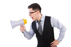 Funny man. With loudspeaker on white Stock Images