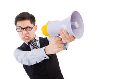 Funny man. With loudspeaker on white Royalty Free Stock Image