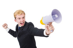 Funny man. With loudspeaker on white Stock Photo