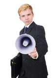 Funny man. With loudspeaker on white Royalty Free Stock Photography