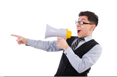 Funny man with loudspeaker. On white Royalty Free Stock Photography