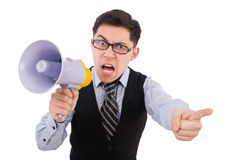 Funny man with loudspeaker. On white Royalty Free Stock Images