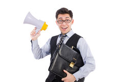 Funny man with loudspeaker. On white stock images