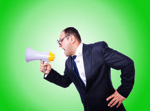 Funny man with loudspeaker on white Stock Photos