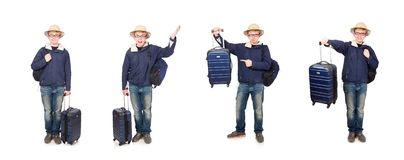 The funny man with luggage wearing safari hat. Funny man with luggage wearing safari hat royalty free stock photos