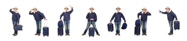 The funny man with luggage wearing safari hat. Funny man with luggage wearing safari hat stock photography