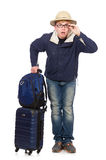 Funny man with luggage wearing Royalty Free Stock Photography