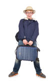 Funny man with luggage wearing Stock Photo