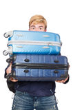 Funny man with luggage Stock Images