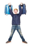 Funny man with luggage Stock Photo