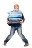 Funny man with luggage Royalty Free Stock Photo