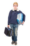 Funny man with luggage Stock Photos