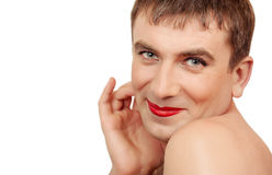Funny man with make-up Royalty Free Stock Image