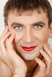 Funny man with make-up Stock Photo