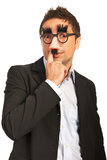 Funny man with mask Stock Images