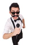 Funny man with mic isolated on the white Royalty Free Stock Photos